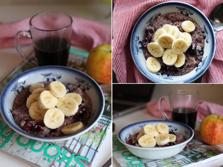 bovetegröt med banan och körsbär