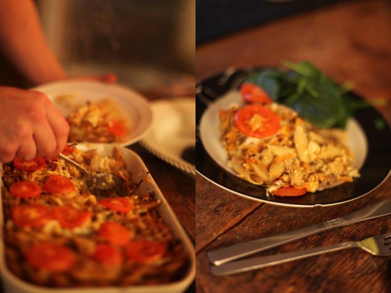 pastagratäng med köttfärs och grönsaker
