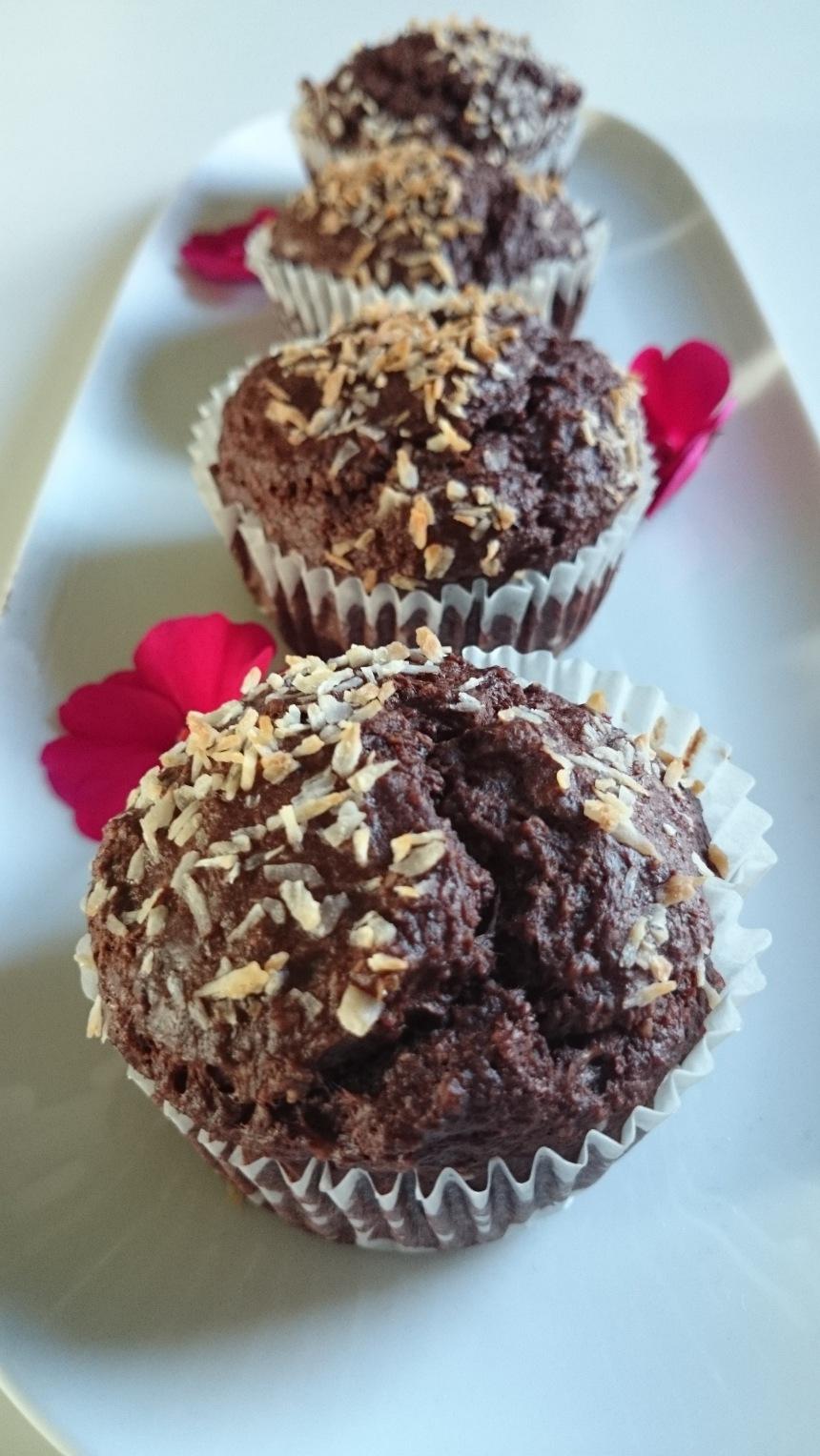 Nyttiga muffins träning choklad banan kokosolja kokosfett