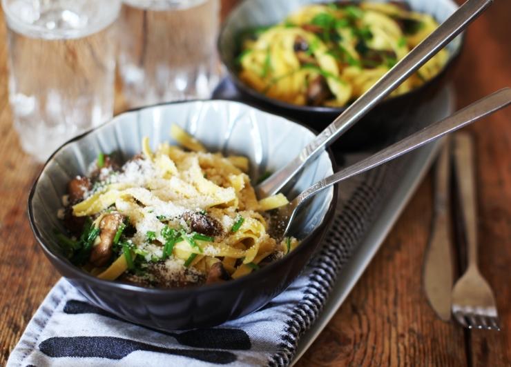 5 färskpasta med svamp och parmesan