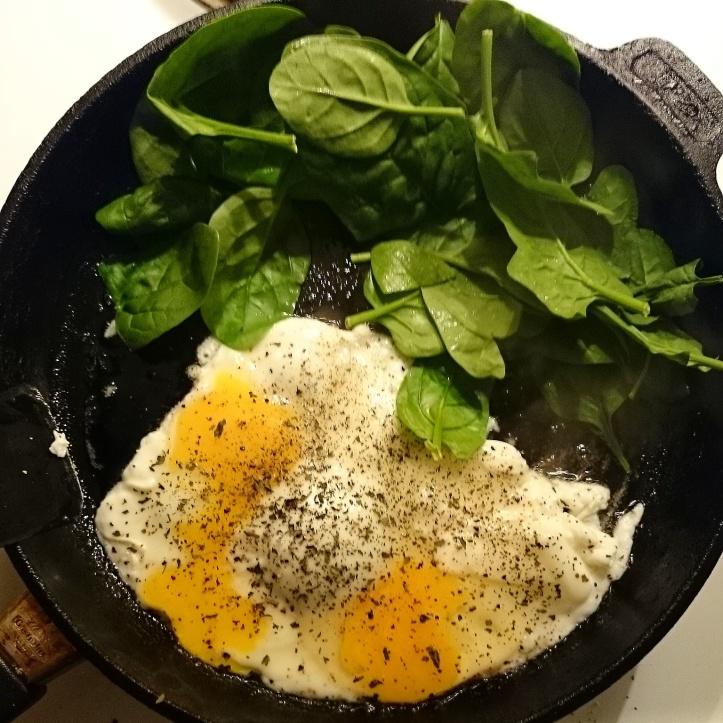 omelett, bladspenat ägg