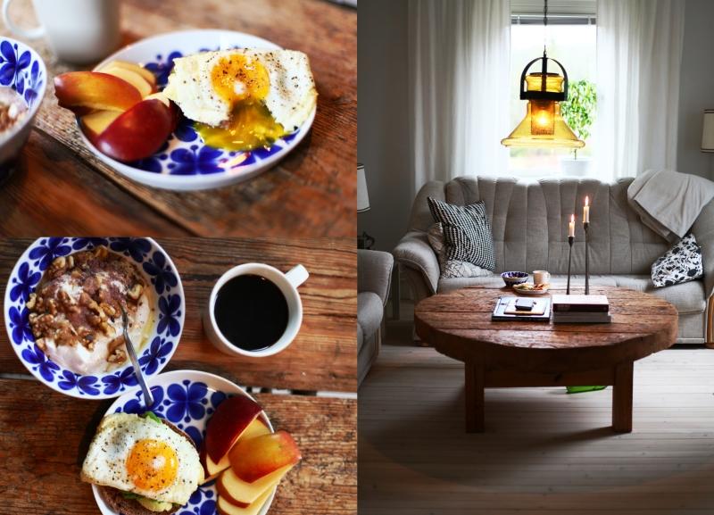 frukost vardagsrummet ägg inredning trägolv vitoljade vitlutade