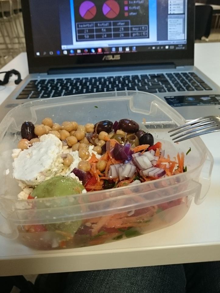 vegetarisk lunchsallad med avokado och keso