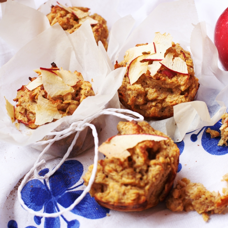 Hälsosamma äppelmuffins med havre och banan 4